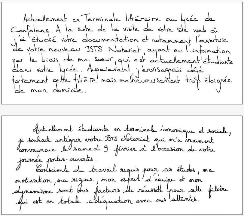 lettre de motivation pour ecole bts notariat