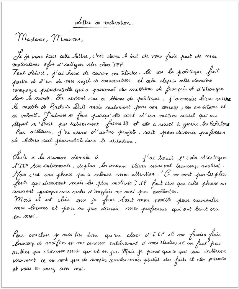 Prestement Prespiote Lettre De Motivation: Lettre De Motivation Pour Etudier En France