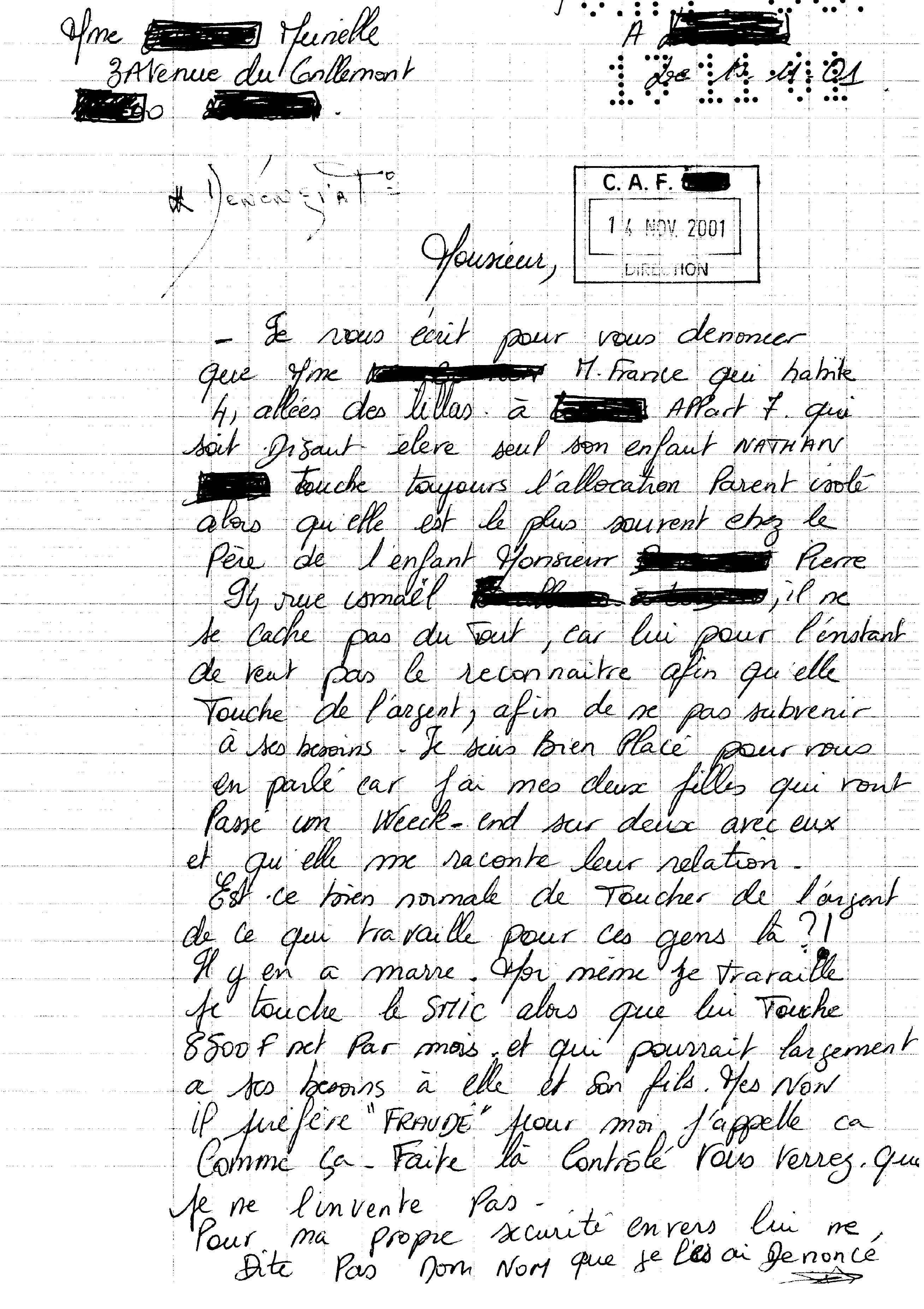 modele lettre de denonciation caf délation | La Parisienne Libérée ♫ modele lettre de denonciation caf