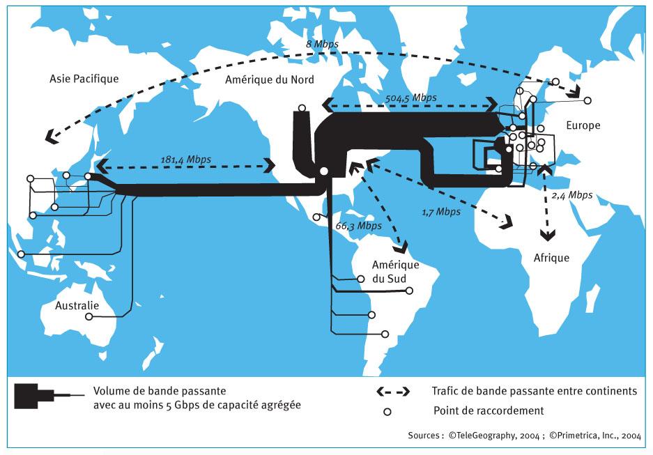Les nœuds et les liens du réseau Internet   approche géographique ... fb6deeb0061
