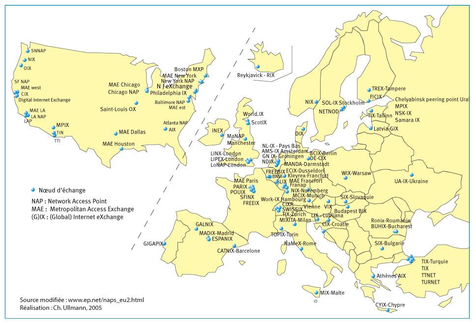 Localisation des points d échange Internet aux États-Unis et dans la «  Grande Europe » 7d3132cf26c