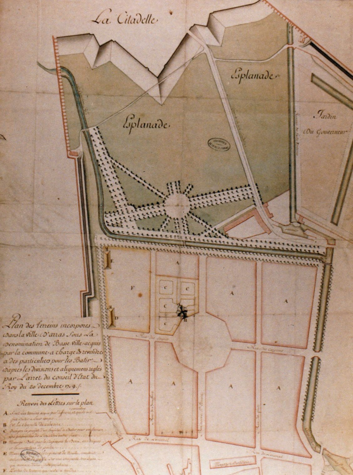 Reproduction plan ancien Arras 1700