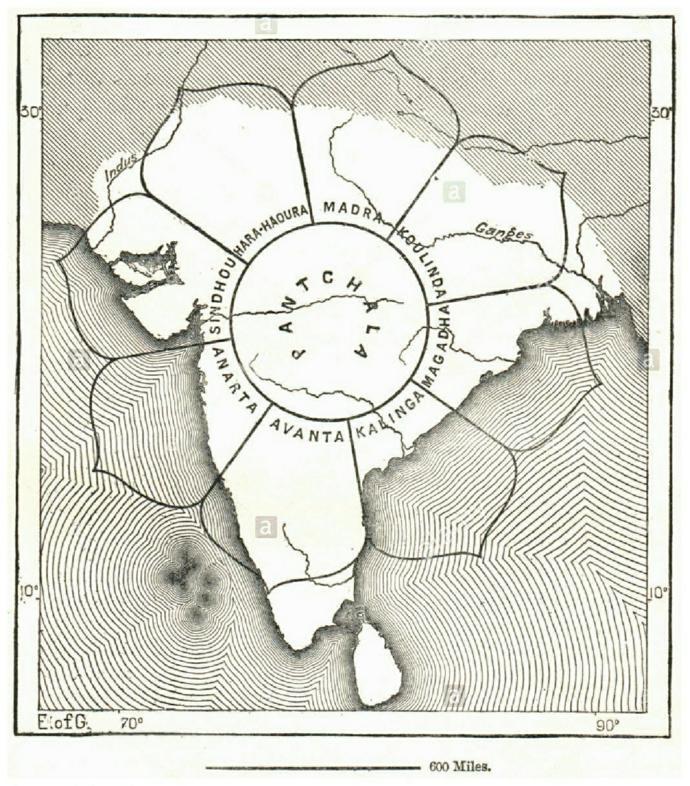 La carte de l'Inde selon Varahamihira