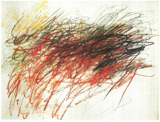 Cy Twombly Sans titre, 1954, craie et crayon de couleur sur papier, 48,3 x 63,4 cm, coll. Robert Rauschenberg