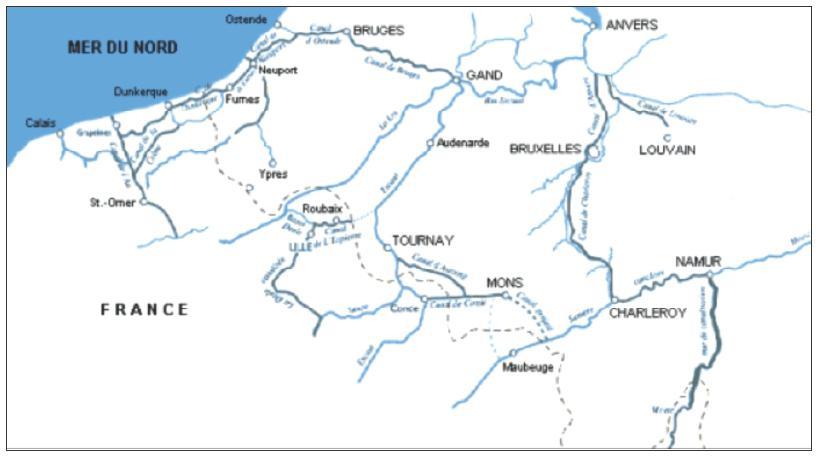 Carte Belgique Canaux.Fleuves Et Canaux Dans La Zone Franco Belge Entre 1814 Et