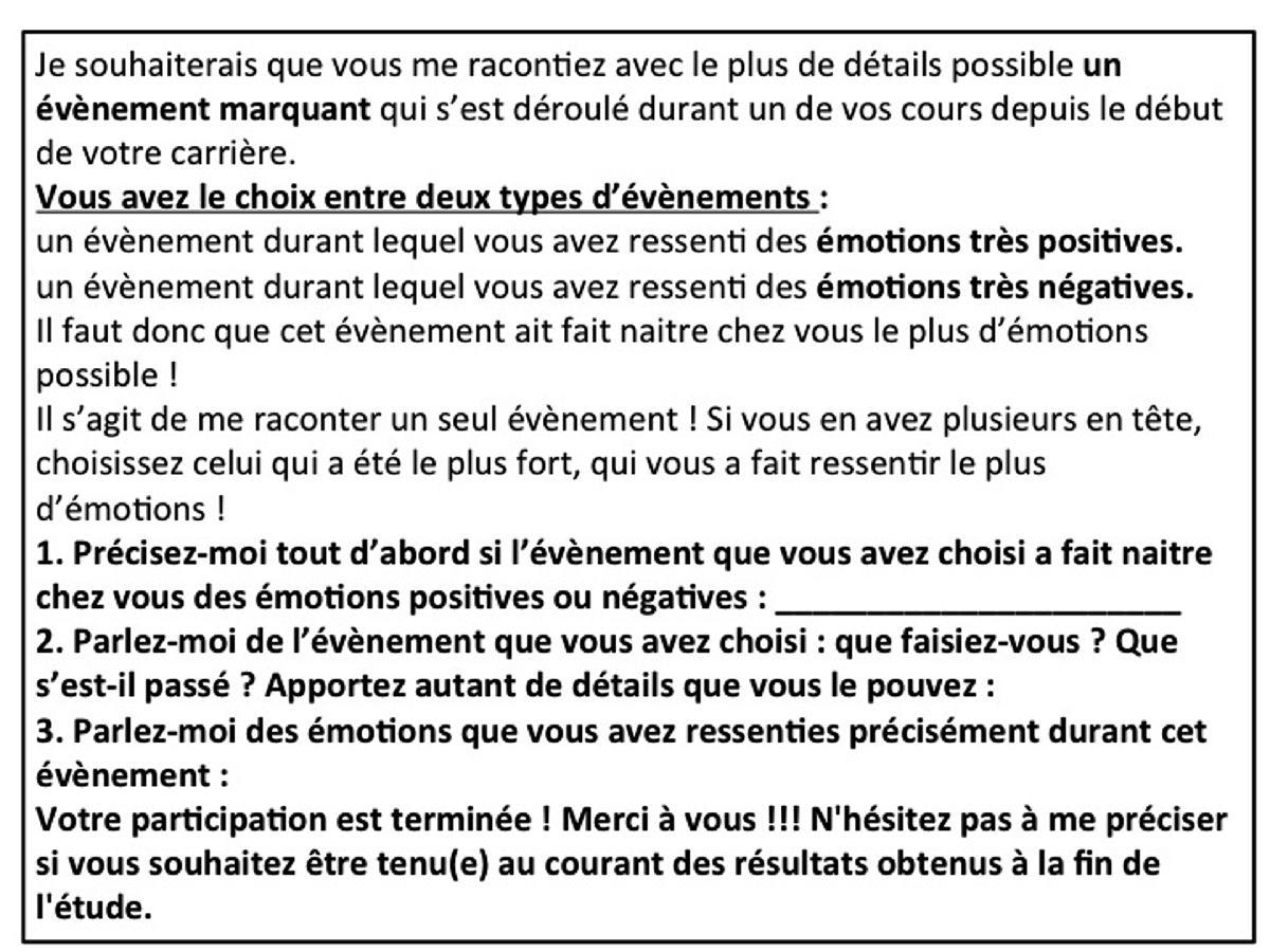 Questionnaire De Type Incident Critique Propos Aux Enseignants Du Second Degr