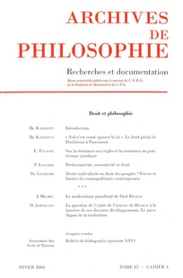 Archives de Philosophie 2004/4