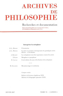 Archives de Philosophie 2007/4
