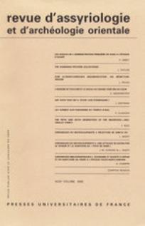 Revue d'assyriologie et d'archéologie orientale 2001/1
