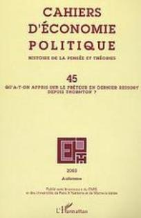 Cahiers d'économie Politique / Papers in Political Economy 2003/2