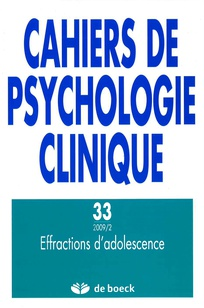 Cahiers de psychologie clinique 2009/2
