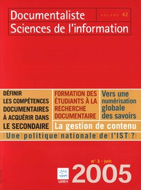 Documentaliste-Sciences de l'Information 2005/3