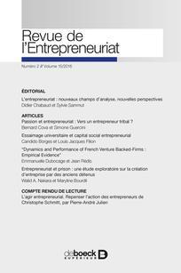 Revue de l'Entrepreneuriat 2016/2
