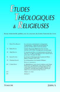 Études théologiques et religieuses 2009/1