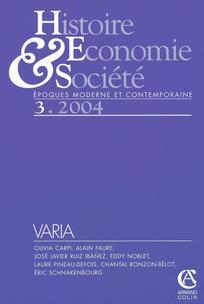 Histoire, économie & société 2004/3