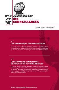 Revue d'anthropologie des connaissances 2011/3
