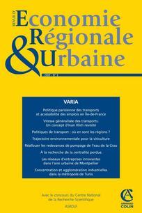 Revue d'Économie Régionale & Urbaine 2009/3