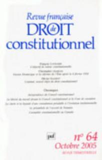 Revue française de droit constitutionnel 2005/4