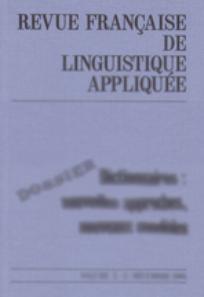 Revue française de linguistique appliquée 2001/2