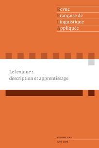 Revue française de linguistique appliquée 2015/1