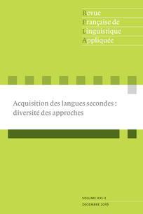 Revue française de linguistique appliquée 2016/2