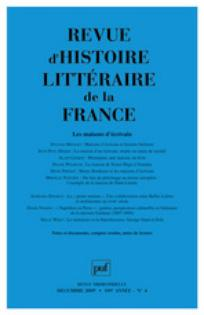 Revue d'histoire littéraire de la France 2009/4