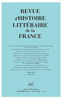 Revue d'histoire littéraire de la France 2016/4