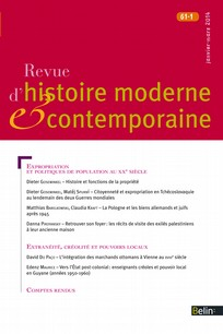 Revue d'histoire moderne et contemporaine 2014/1