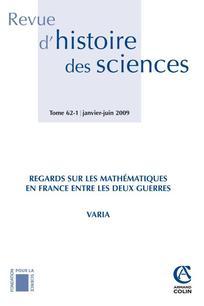 Revue d'histoire des sciences 2009/1