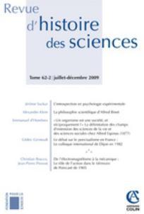 Revue d'histoire des sciences 2009/2