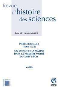 Revue d'histoire des sciences 2010/1
