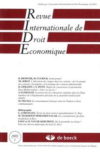 Revue internationale de droit économique 2003/1