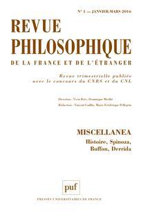 Revue philosophique de la France et de l'étranger 2016/1