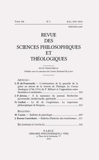 Revue des sciences philosophiques et théologiques