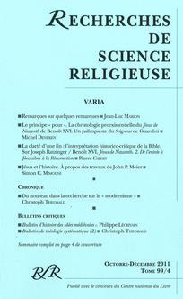 Recherches de Science Religieuse 2011/4