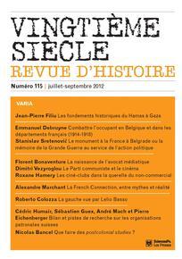 Vingtième Siècle. Revue d'histoire 2012/3