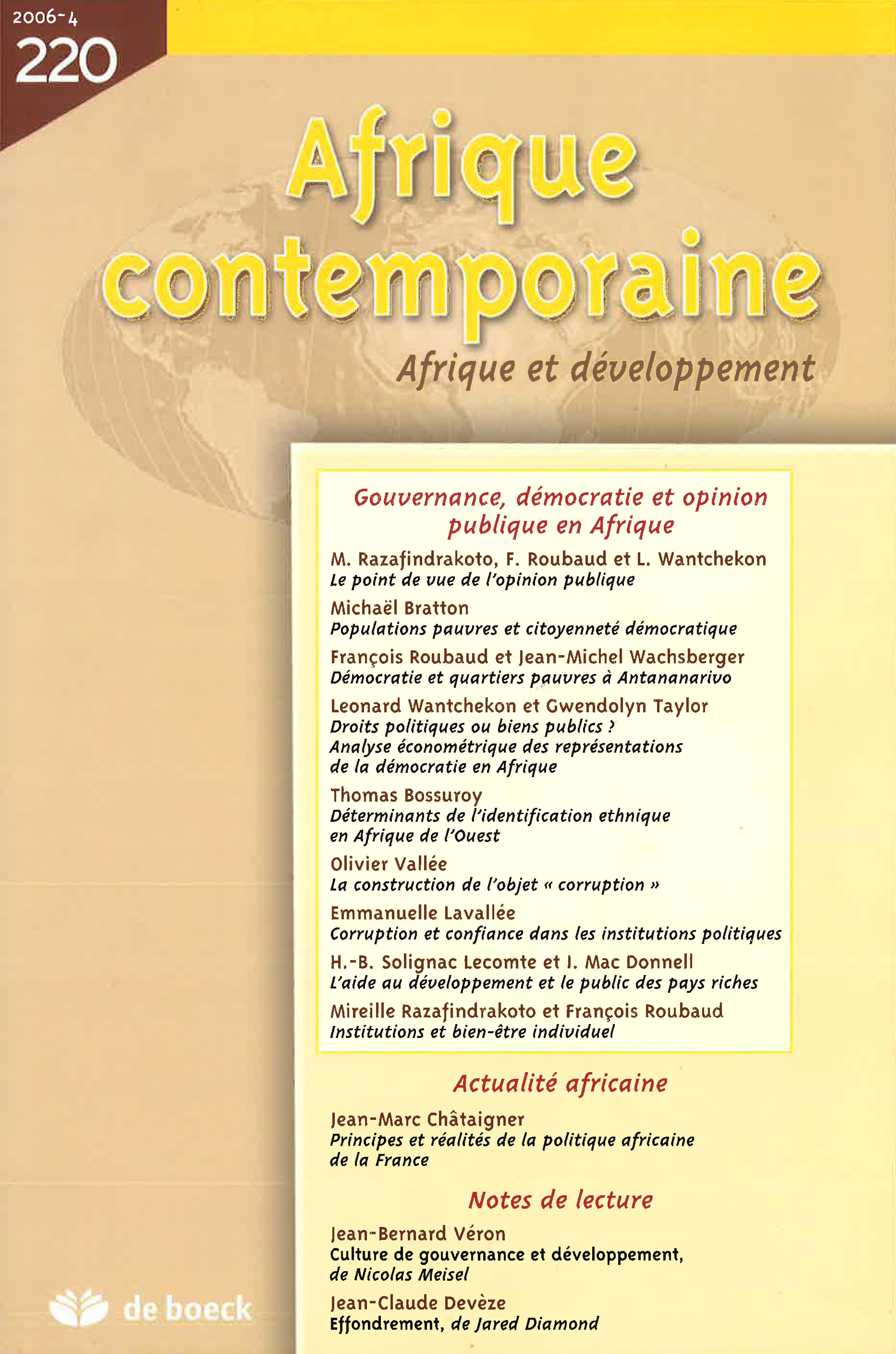 Plan D Une Case Africaine populations pauvres et citoyenneté démocratique en afrique