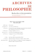 Archives de Philosophie 2012/2