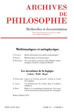 Archives de Philosophie 2013/2