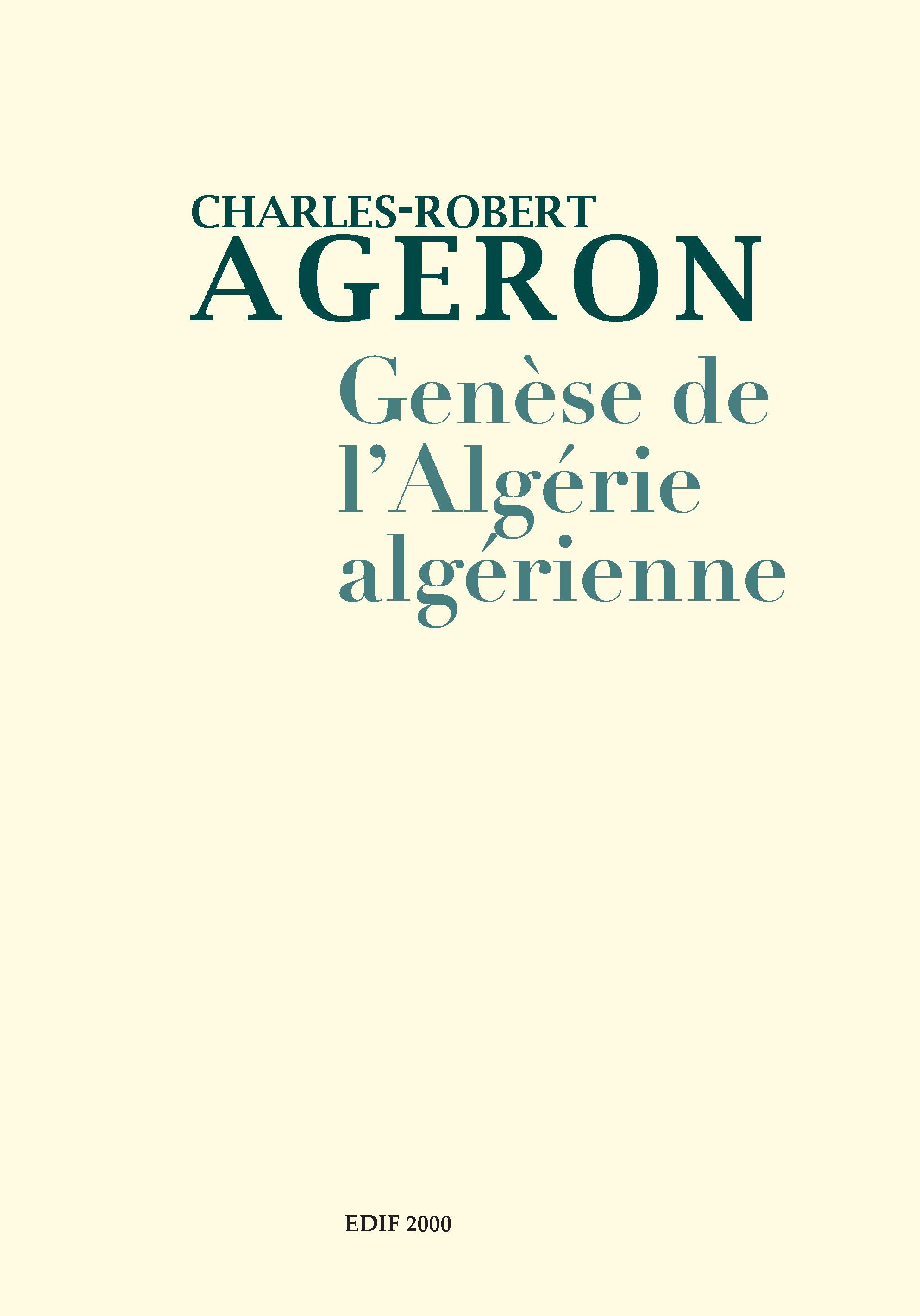 """Résultat de recherche d'images pour """"Genèse de l'Algérie algérienneCharles-Robert Ageron"""""""