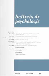 Bulletin de psychologie 2008/2