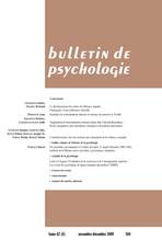 Bulletin de psychologie 2009/6