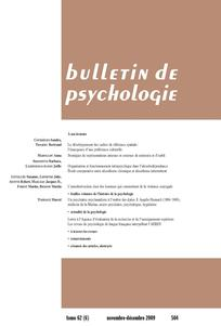 couverture de Bulletin de psychologie 2009/6