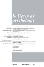 Bulletin de psychologie 2011/1