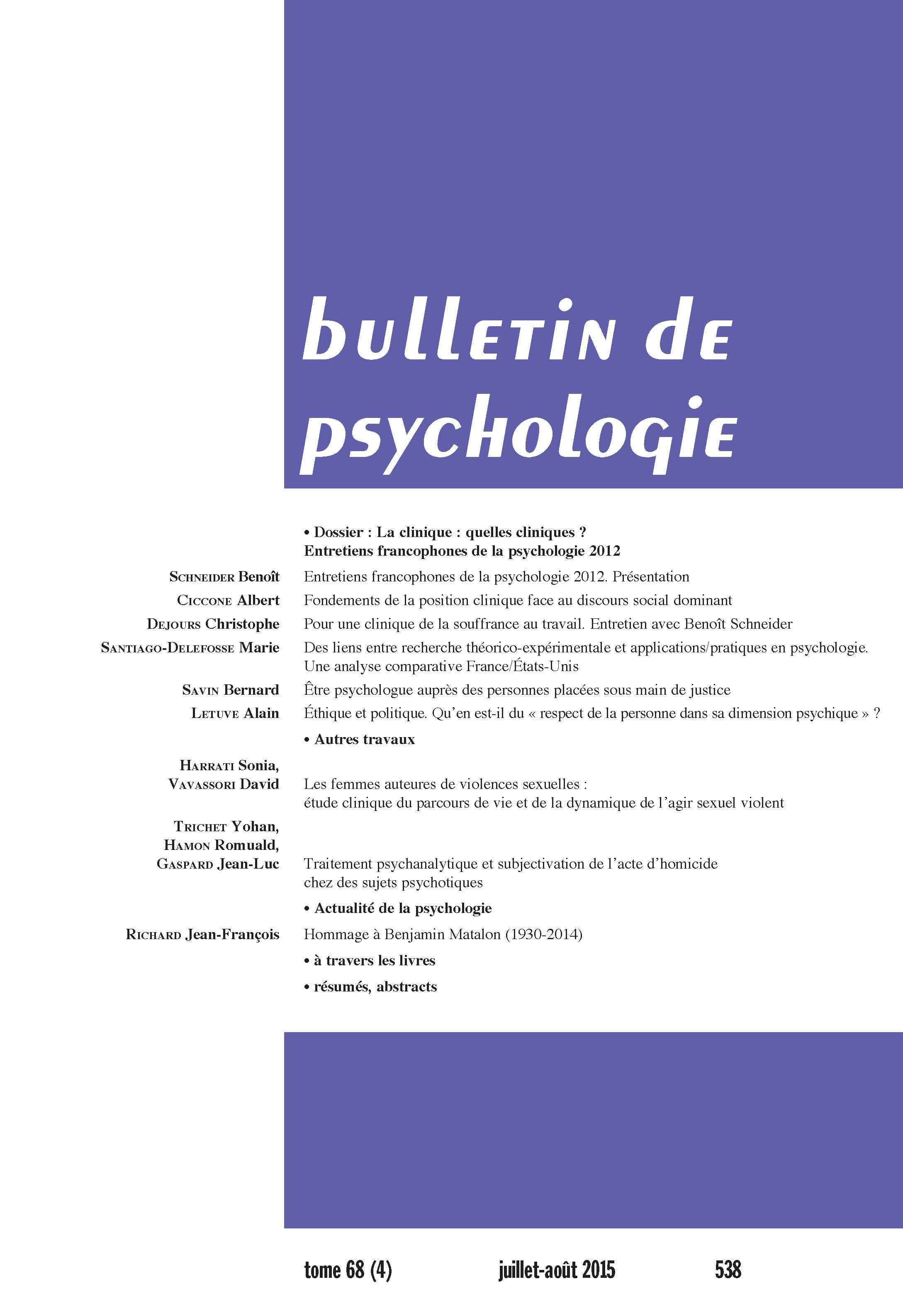 Traitement Psychanalytique Et Subjectivation De Lacte Dhomicide