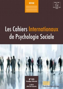 Les cahiers internationaux de psychologie sociale 2014/3