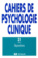 Cahiers de psychologie clinique 2008/2