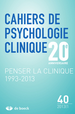 Cahiers de psychologie clinique 2013/1