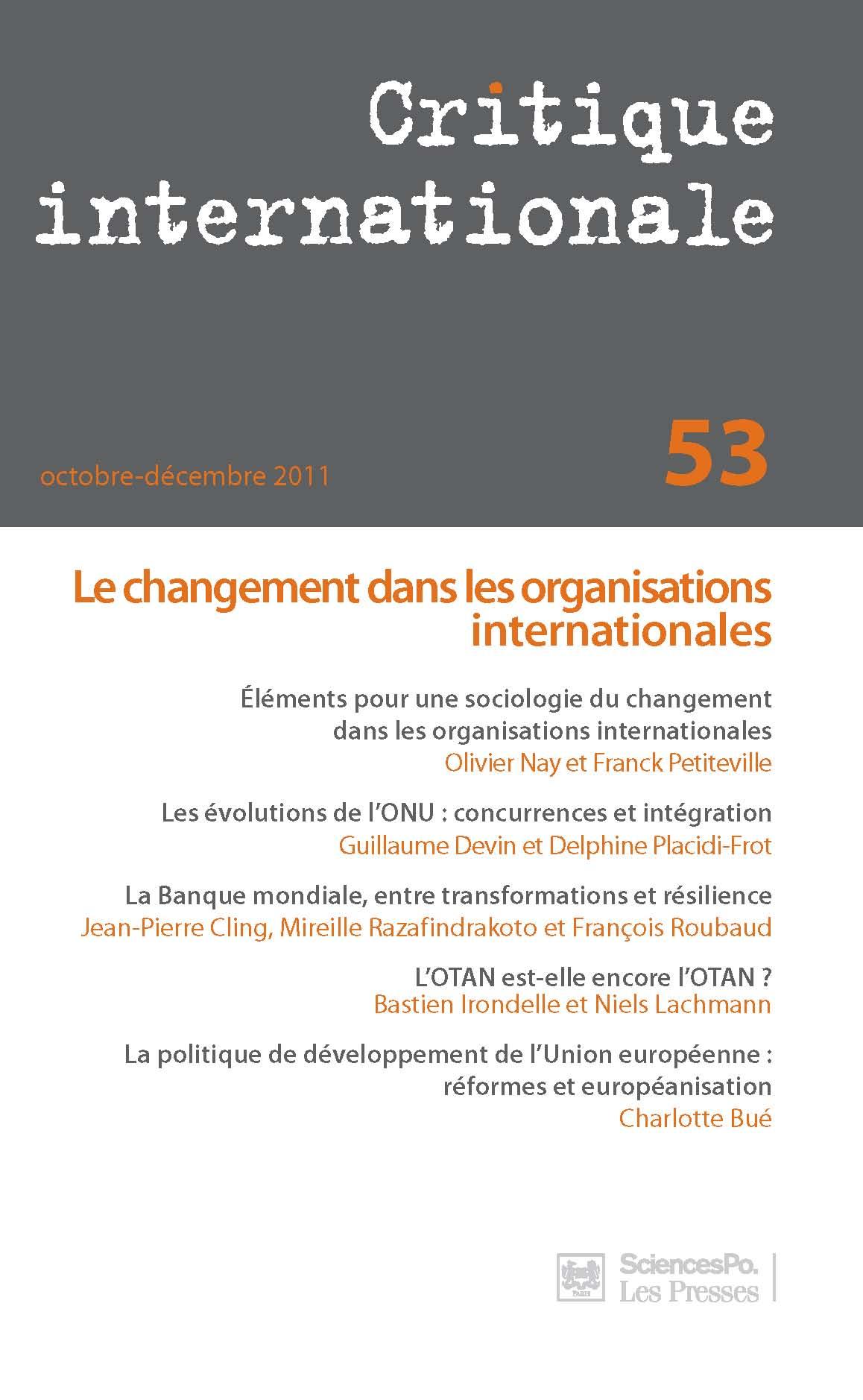 Éléments pour une sociologie du changement dans les organisations  internationales