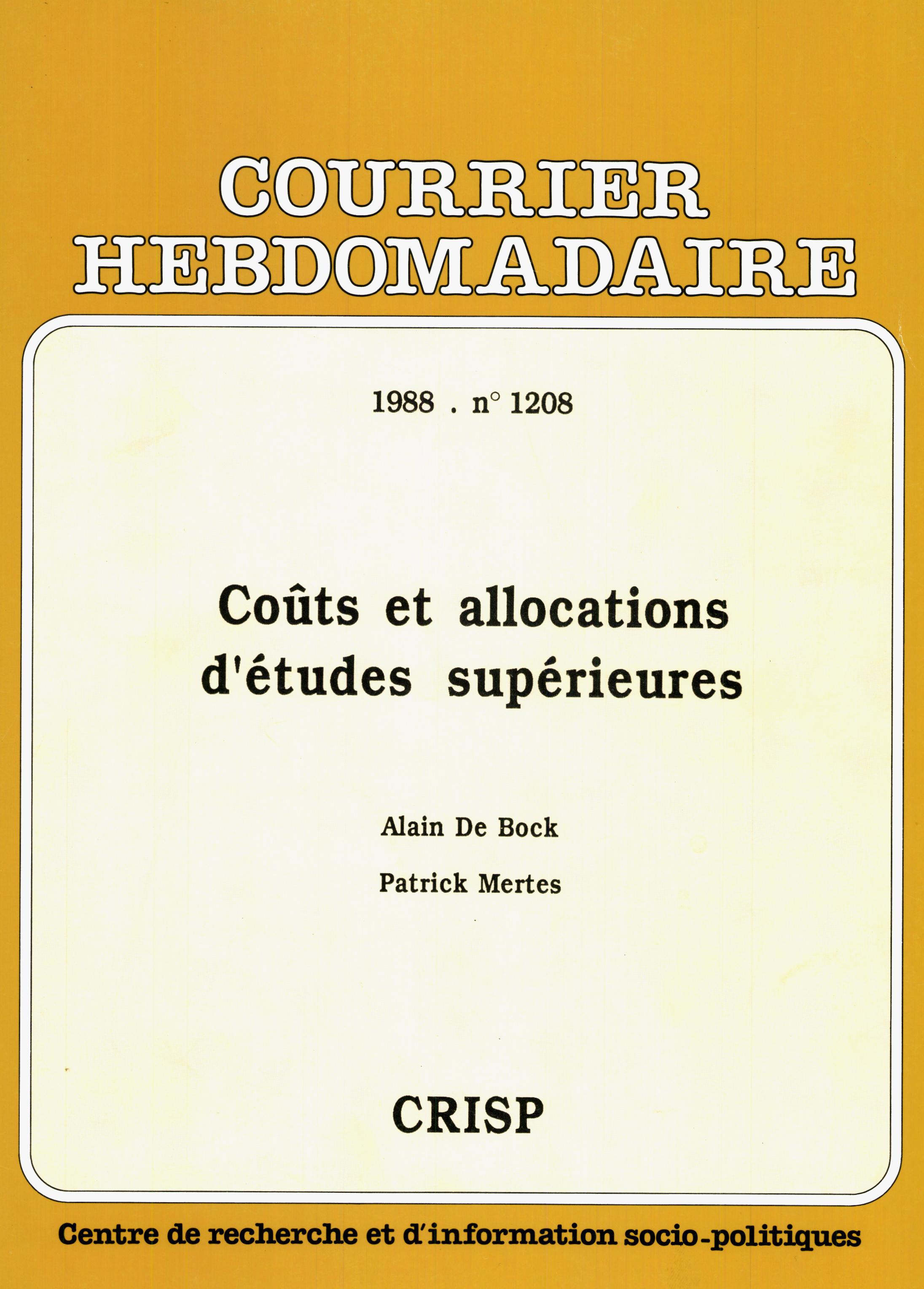 Couts Et Allocations D Etudes Superieures Cairn Info